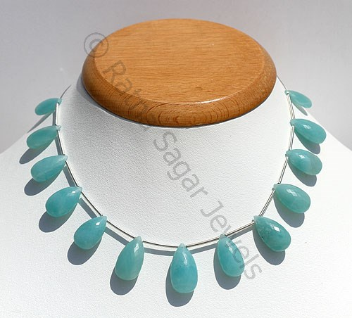 Amazonite Beads- Flat Pear Briolettes