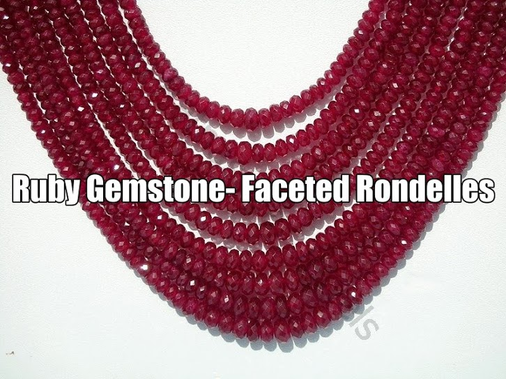 Ruby Gemstone Faceted Rondelles