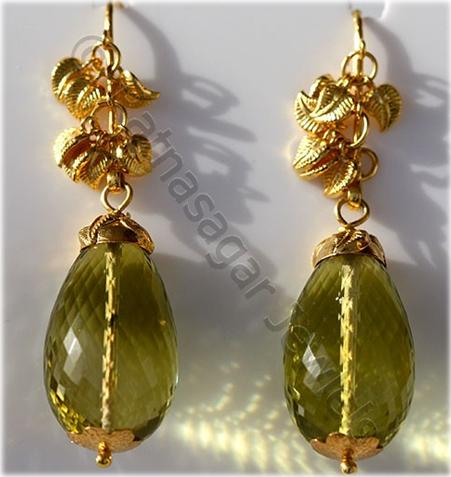 Jewelry Collection - Lemon Quartz Studded Earrings