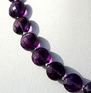 8 inch strand Amethyst Gemstone Faceted Coin