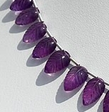 8 inch strand Amethyst Gemstone Carved Leaf
