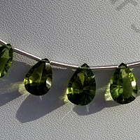 8 inch strand Peridot Gemstone Beads  Concave Cut Pan