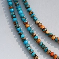 16 inch strand Turquoise Gemstone Faceted Rondelle