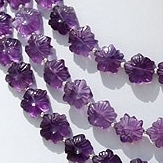 8 inch strand Amethyst Gemstone Flower Beads