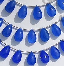 wholesale Dyed Navy-Blue Chalcedony Flat Pear Briolette