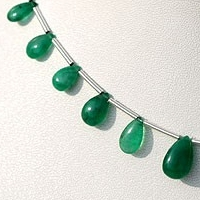 wholesale Emerald Gemstone Beads  Flat Pear Plain