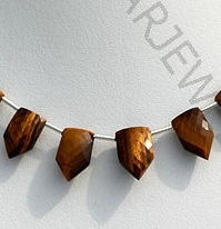 wholesale Tiger eye gemstone pentagon shape beads.