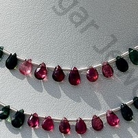 wholesale Tourmaline Gemstone Beads Flat Pear Briolette