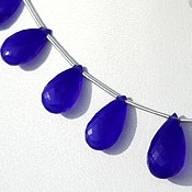 8 inch strand Dyed Navy-Blue Chalcedony Flat Pear Briolette