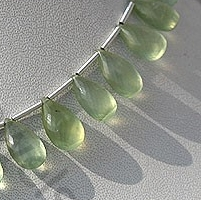 wholesale Prehnite Gemstone  Flat Pear Briolette