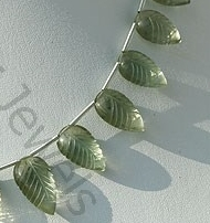 aaa Green Amethyst Gemstone Carved Leaf