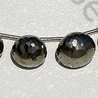 8 inch strand Pyrite Beads Onion Shape