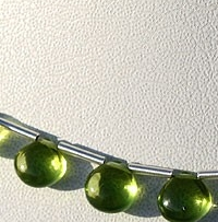 8 inch strand Peridot Gemstone Beads  Plain Heart