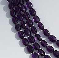8 inch strand Amethyst Gemstone Oval Faceted