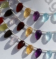 8 inch strand Semi Precious Multi  Carved Leaf