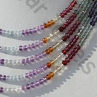16 inch strand Semi Precious Multi  Faceted Roundels