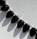 8 inch strand Black Tourmaline Carved Leaf