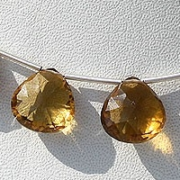 wholesale Cognac Quartz  Concave Cut Faceted Heart