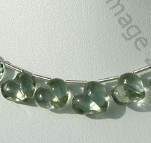 wholesale Green Amethyst Gemstone Chubby Heart beads