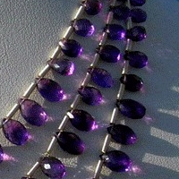 wholesale Amethyst Gemstone Beads  Flat Pear Briolette