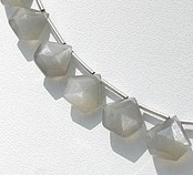 8 inch strand Grey Moonstone Polygon Diamond Cut