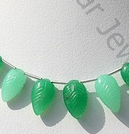 wholesale Chrysoprase Gemstone Carved Leaf