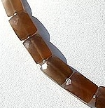 8 inch strand Coffee Moonstone Faceted Rectangle