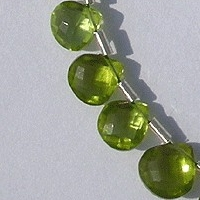 Peridot Gemstone Beads  Heart Briolette