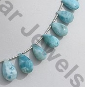 aaa Larimar Gemstone Flat Pear Plain