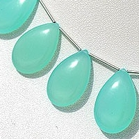 wholesale Dyed Blue Chalcedony  Flat Pear Plain