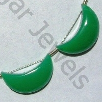 8 inch strand Chrysoprase Gemstone  Moon Shape