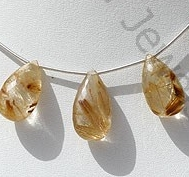 wholesale Golden Rutilated Quartz  Flat Pear Briolette