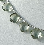 8 inch strand Green Amethyst Gemstone Cushion Beads