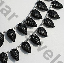 aaa Black Tourmaline Carved Leaf