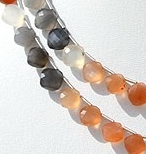 16 inch strand Peach Moon Stone Cushion Shape beads