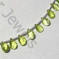 8 inch strand Peridot Gemstone Beads  Twisted Flat Pear