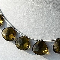 8 inch strand Olive Quartz  Concave Cut Faceted Heart