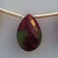 8 inch strand Ruby Zoisite  Flat Pear Briolette