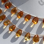 8 inch strand Citrine Gemstone Concave Cut Pan
