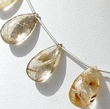 8 inch strand Golden Rutilated Quartz  Flat Pear Briolette