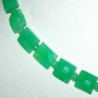 8 inch strand Chrysoprase Gemstone Faceted Rectangle