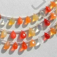 aaa Mexican Fire Opal  Gemstone  Tear Drops Briolette