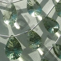 wholesale Green Amethyst Gemstone Concave Cut Pan