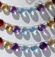 wholesale Semi Precious Multi  Heart Briolette