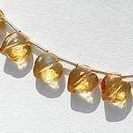 8 inch strand Citrine Gemstone Faceted Chubby Heart Briolette
