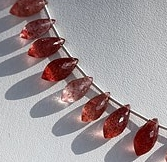 8 inch strand Strawberry Quartz Chandelier Briolette