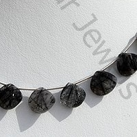 8 inch strand Black Rutilated Quartz Twisted heart Briolette
