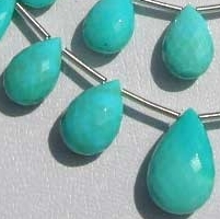 8 inch strand Sleeping Beauty Turquoise Flat Pear Briolette