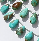 8 inch strand Turquoise Gemstone Flat Pear Briolette