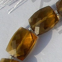 8 inch strand Cognac Quartz  Faceted Rectangles
